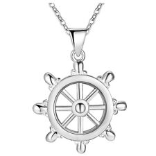 925 Sterling Silver Captain Wheel Pendant Necklace Women Men Jewelry Gift