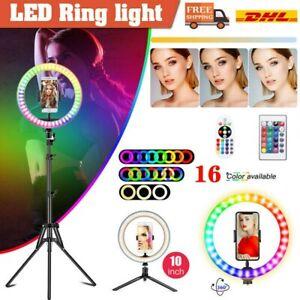 10'' RGB LED Ring Licht Handyhalter Kit Selfie Fotografie Beauty Lampe+ 2 Stativ