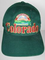 Vintage 1990s COLORADO ROCKY MOUNTAINS Advertising GREEN SNAPBACK HAT CAP
