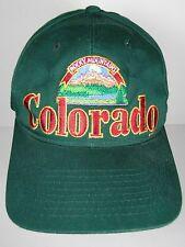 Vintage 1990s COLORADO ROCKY MOUNTAINS Advertising GREEN SNAPBACK HAT CAP