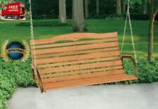 """Jack Post 48"""" High Back Wood 2-Person Porch Swing with Chain 4 ft Wide"""