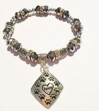Paw Print Love Bracelet Dog Stretch Silver