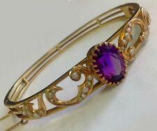 1854 antique Victorian 15k gold amethyst pearl hinged bangle bracelet val: $5000