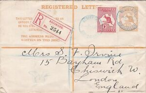 APS3004) Australia 1913 4d Orange Kangaroo Registered Envelope ACSC RE3