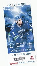 2015 VANCOUVER CANUCKS VS MINNESOTA WILD TICKET STUB 2/16 Alex Biega  DEBUT GOAL