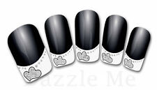 3D Nail Art Decals Transfer Stickers French Tip Design Glitter Hearts (3D852)