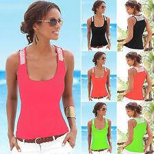 donna estate paillettes Gilet senza maniche maglietta top camicetta Casual