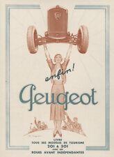 PEUGEOT 201/301 Annonce originale entoilée MIROIR DU MONDE années 30 G. CAZENOVE