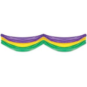 Mardi Gras Fabric Bunting (golden-yellow, green, purple) Party Accessory...