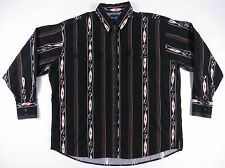 VTG WRANGLER AZTEC PRINT BLACK PEARL SNAP BUTTON UP WESTERN SHIRT COWBOY RODEO