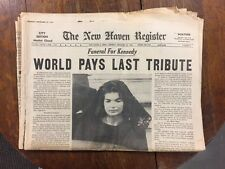 New Haven Register Newspaper KENNEDY FUNERAL NOV  25,1963 COMPLETE ORIGINAL P-11