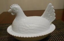 Milk Glass Chicken Covered Dish