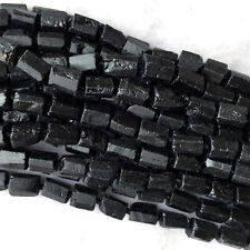 Natural Raw Mineral Black Tourmaline Nugget Free Form Rough Matte Faceted Beads