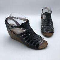 Bare Traps Ivania Women Black Leather Strappy Wedge Heel Shoe Size 7M Pre Owned