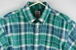 Brooks Brothers Mens Button Up Shirt Green Plaid Short Sleeve Size Small