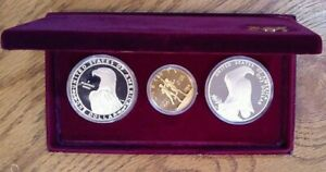 Olympic Proof Set 1984-S $10 Gold  & 2 $1 Silver Commemorative Box & COA