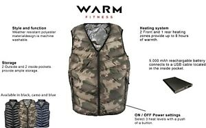 Camouflage Heated Vest, 3 heating zones, includes rechargeable 5v battery