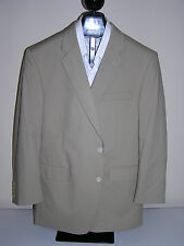 $350 New Jos A Bank Poplin 2 button suit Solid Tan 38 R 32 W unhemmed flat front