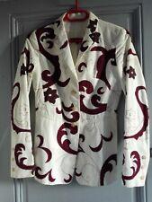 Veste femme KENZO blanche motifs volutes et fleurs surpiqués bordeau. T 36