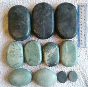 Hot Massage Stone Set Kit Large Stones Round Oval Basalt and Green Jade