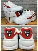 FILA MENS UK 9.5 EU 44 VENOM 94 LOW WHITE RED LEATHER MESH TRAINERS RETRO   EP