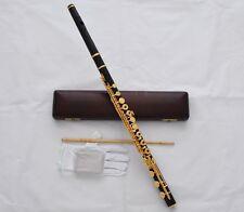 Professsional Ebony Wood C Tone Flute Gold Plated 17 Key Hole With Wood Case