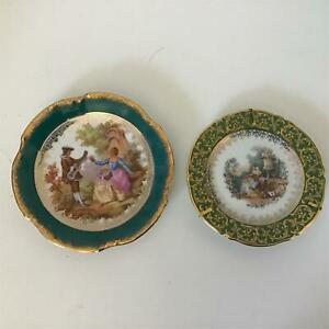 2x Limoges France Porcelain Small Display Plates Aqua Green Gold 404