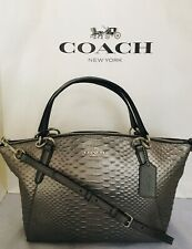 COACH F39779 Small Kelsey Python Leather Crossbody Satchel Bag  SV/Gunmetal NWT