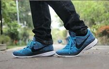 NIKE FLYKNIT LUNAR 3 Running Trainers Gym Casual - UK 10.5 (EUR 45.5) Brave Blue