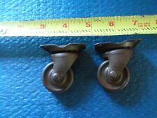 2 MATCHING FLANGED FURNITURE CASTERS, SWIVEL STEEL WHEEL, STEAMPUNK...