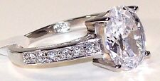 RING 3K Oval Cut Cubic Zircon Solitaire.925 Hallmarked Sterling Silver Siz 10.25