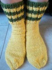 Hand knitted cozy & warm wool blend socks, warm yellow with olive green