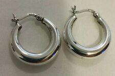 Vintage Sterling Silver Thicker Snap Post Hoop Earrings 18 mm.