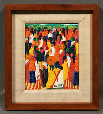 Colorful Abstract Haitian Modern 20th Century Oil Panting by Jean Casimir