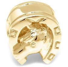 Horse Shoe 9K 9ct 375 Solid Gold Bead Charm FIT EURO BRACELET 30 Day Refund