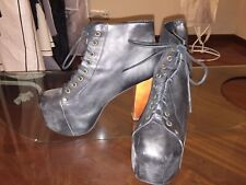 JEFFREY CAMPBELL BLACK DISTRESSED LEATHER PLATFORM LACE-UP BOOTS!!! SO FIERCE!!!
