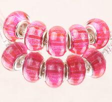 5pcs SILVER MURANO bead LAMMWORK fit EuroMean Charm Bracelet #D56