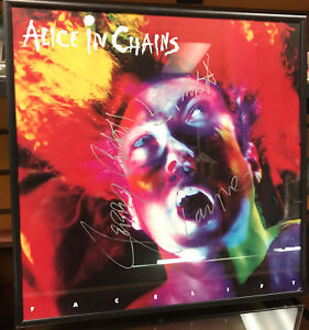 """Alice In Chains Signed In 91 12"""" Record Store Promo Poster LAYNE, JERRY, MIKE"""