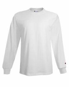 Champion T Shirt Long-Sleeve Crewneck Tee Men Plain Blank Mid-Weight All Cotton