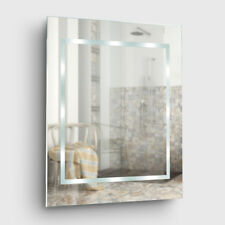 Modern Battery Operated Illuminated LED Bathroom Wall Mirror Cool White Light