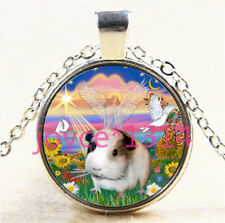 Vintage Cute Hamster Cabochon Tibetan silver Glass Chain Pendant Necklace #5983