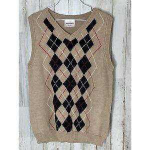 Hanna Andersson boy's argyle sweater vest size 130 Tan