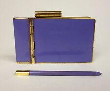 art déco Carnet avec stylo en laiton émail Um 1920