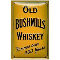 OLD BUSHMILL'S  WHISKEY  : EMBOSSED 3D METAL  ADVERTISING SIGN 30x20cm PUB/BAR