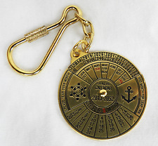 Brass Forty Year Calendar Keyring / Key Ring - BNIB