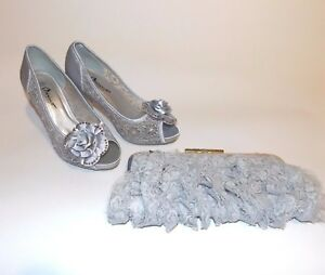 Ladies Light Grey Lace Barino Shoes Size 4 37 and Clutch Bag