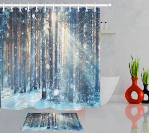 Winter Snow Forest Sunshine Shower Curtain Liner Fabric & Hooks Bathroom Decor