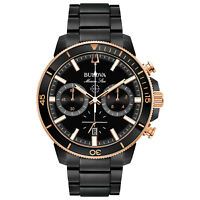 Bulova Marine Star Men's 98B302 Chronograph Rotating Bezel Black Band 45mm Watch