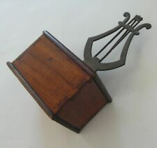 V RARE Victorian Antique Mahogany Cases & Brass Lyre Shaped Metronome - Working