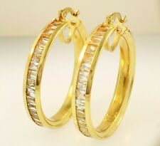 9Ct Yellow Gold Large Simulated Diamond Channel Set Hoop (35mm Diameter)